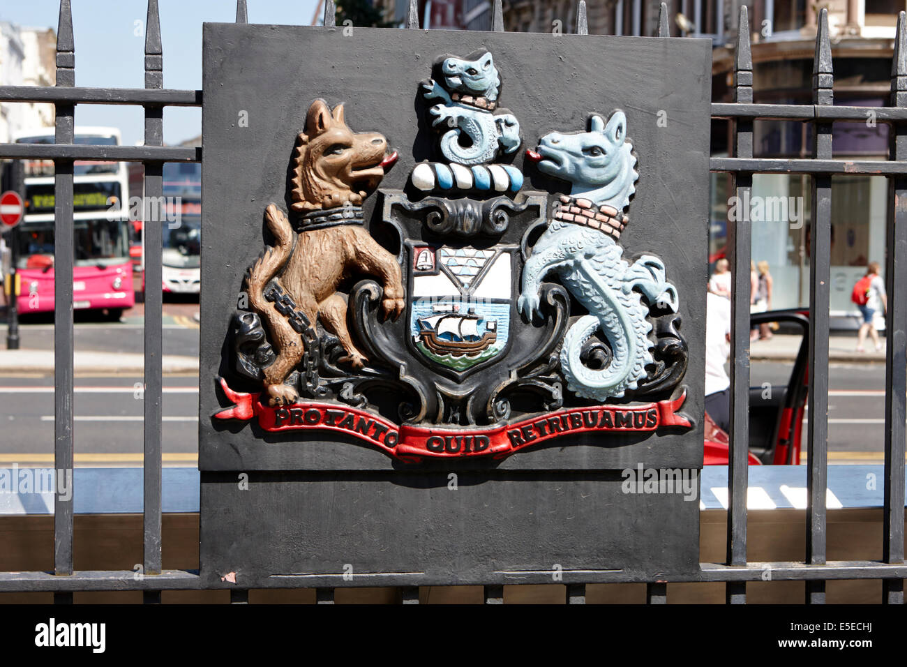 Belfast coat of arms in the city centre - Stock Image