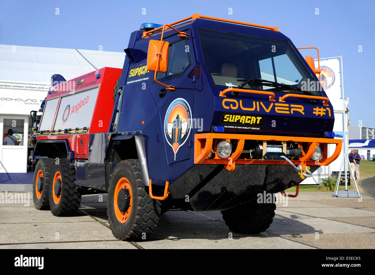 Supacat HMT 600 6X6 All Terrain Vehicle, utilised as a support vehicle for the Bloodhound SSC hybrid rocket car - Stock Image