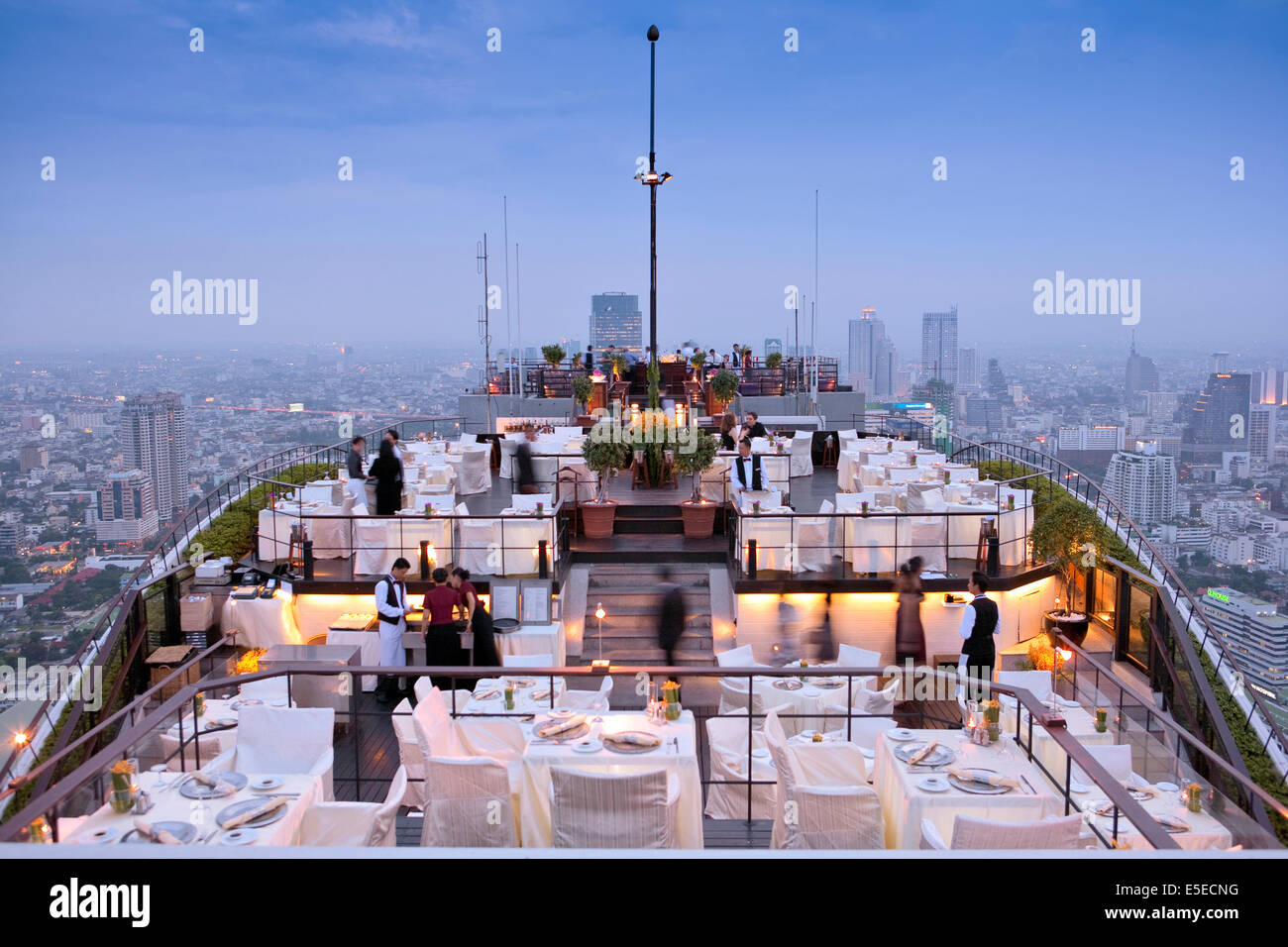 Vertigo restaurant and bar on the top of the Banyan Tree hotel in Bangkok, Thailand - Stock Image