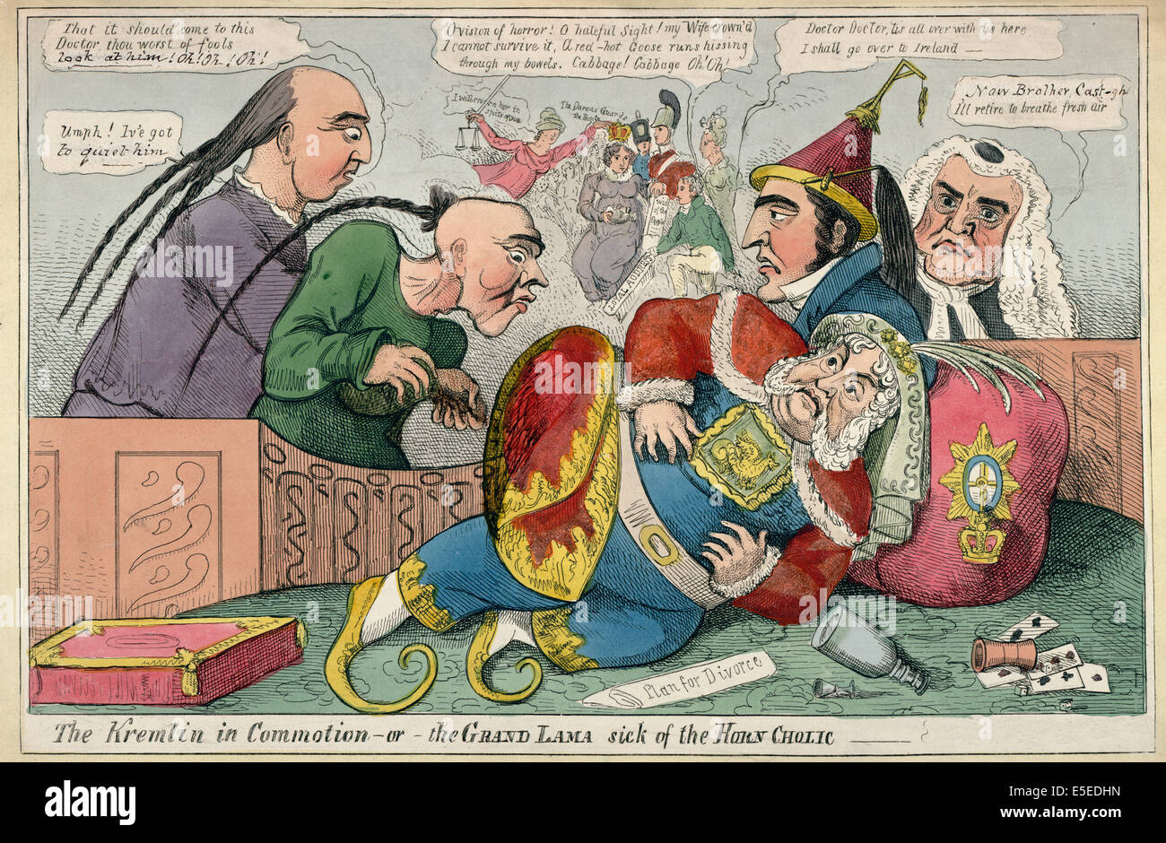 The Kremlin in commotion - or - the Grand Lama sick of the horn cholic - King George IV fallen to the floor, he - Stock Image