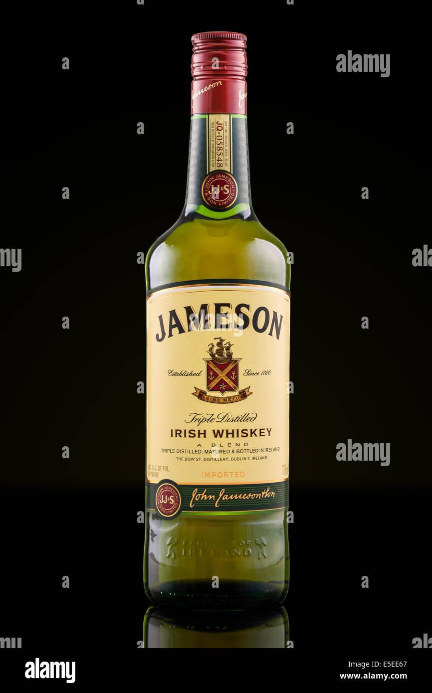 Bottle of Jameson Irish Whiskey - Stock Image