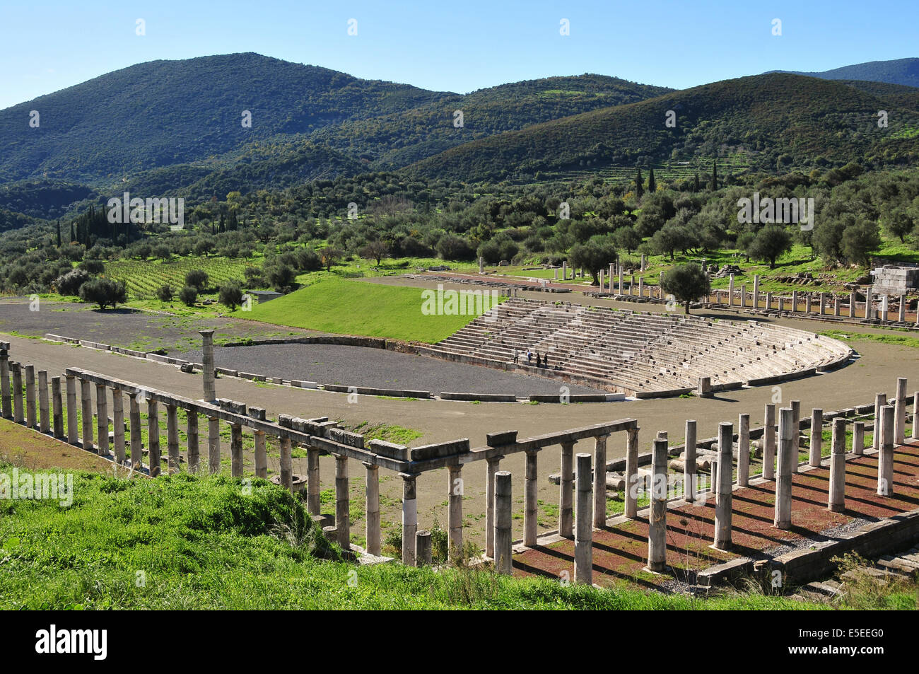 The stadium in the remains of the city of Ancient Messene (also called Ancient Messini), an archaelogical site near - Stock Image