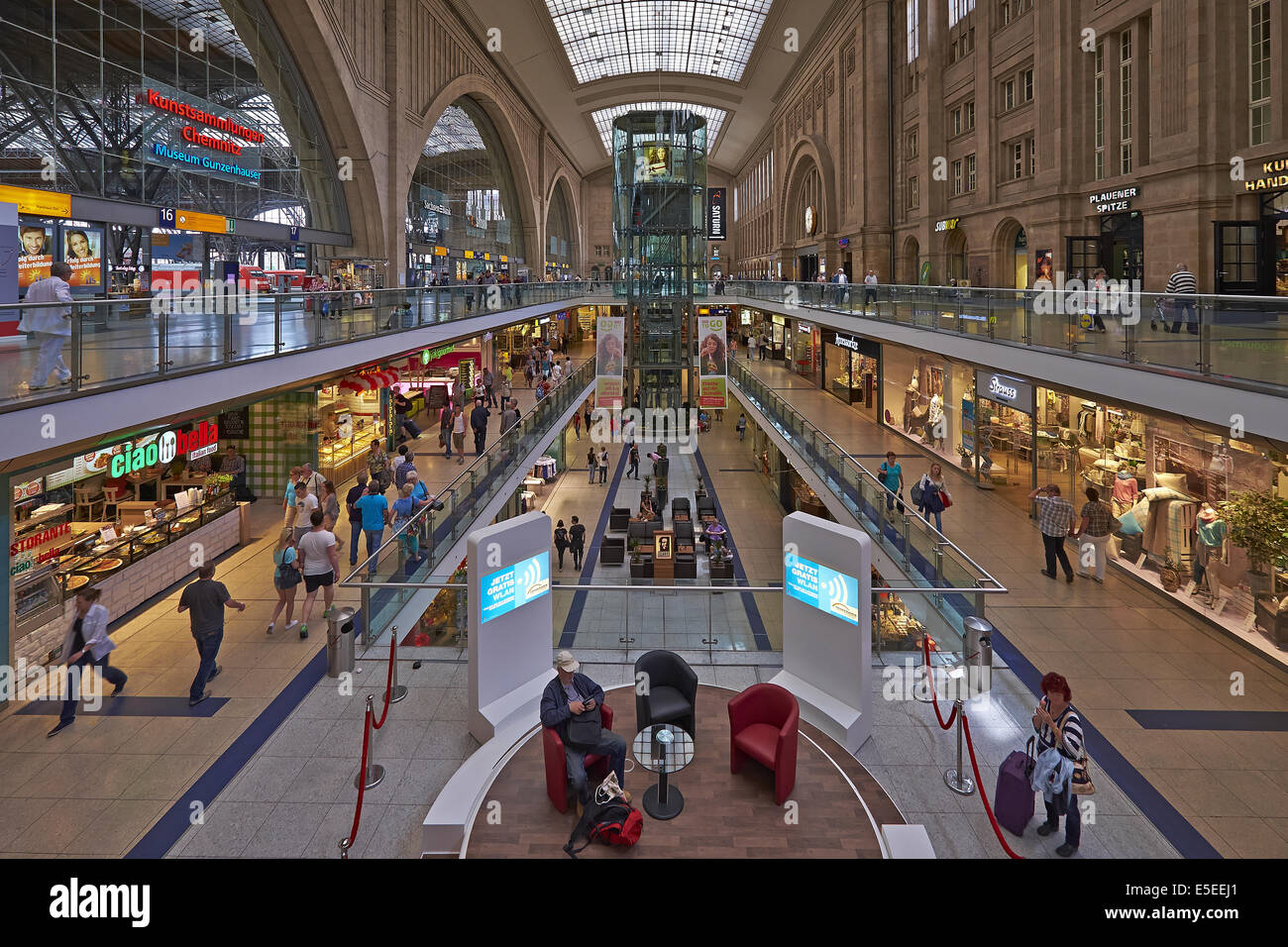 Promenades in Leipzig Central Station, Germany - Stock Image