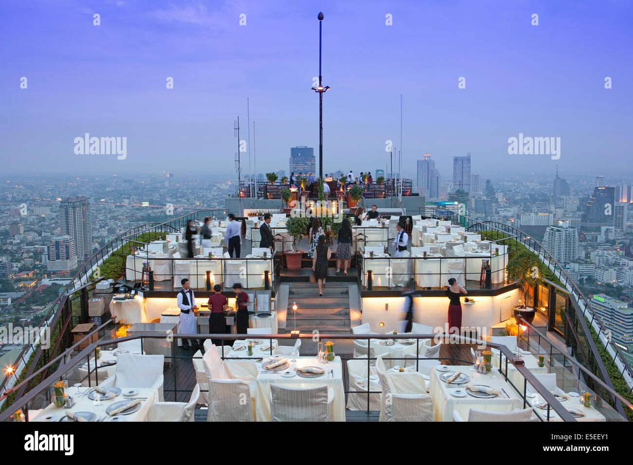 Vertigo restaurant and bar on the top of the Banyan Tree hotel in Bangkok, Thailand - Stock Image