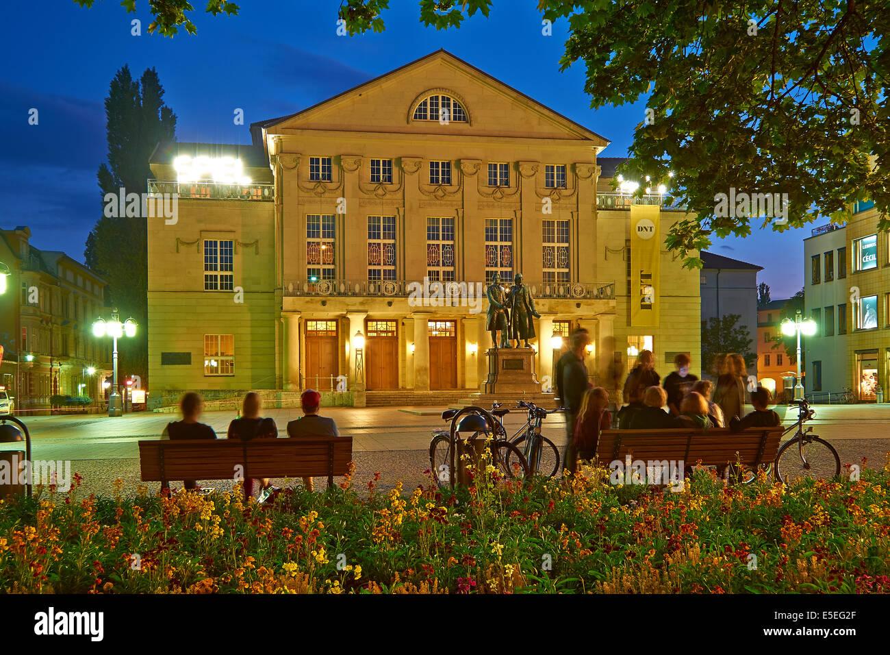 Deutsches Nationaltheater Weimar with Goethe-Schiller Monument, Germany - Stock Image