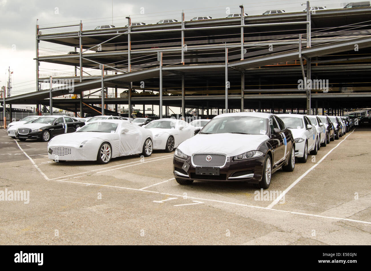 SOUTHAMPTON, UK  MAY 31, 2014:  Rows of newly built Jaguar cars parked at Southampton docks before being exported. - Stock Image