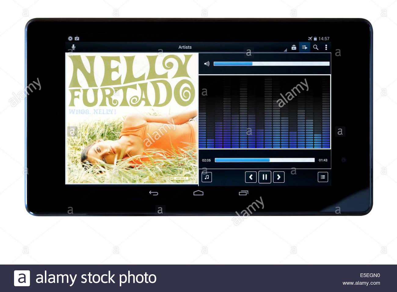 Nelly Furtado album, Whoa Nelly, MP3 album art on PC tablet, England Stock Photo