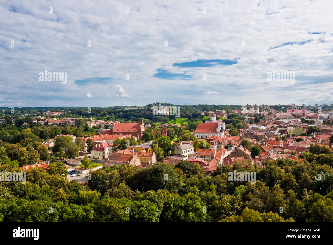 View of the old Vilnius from the Gediminas hill - Stock Image