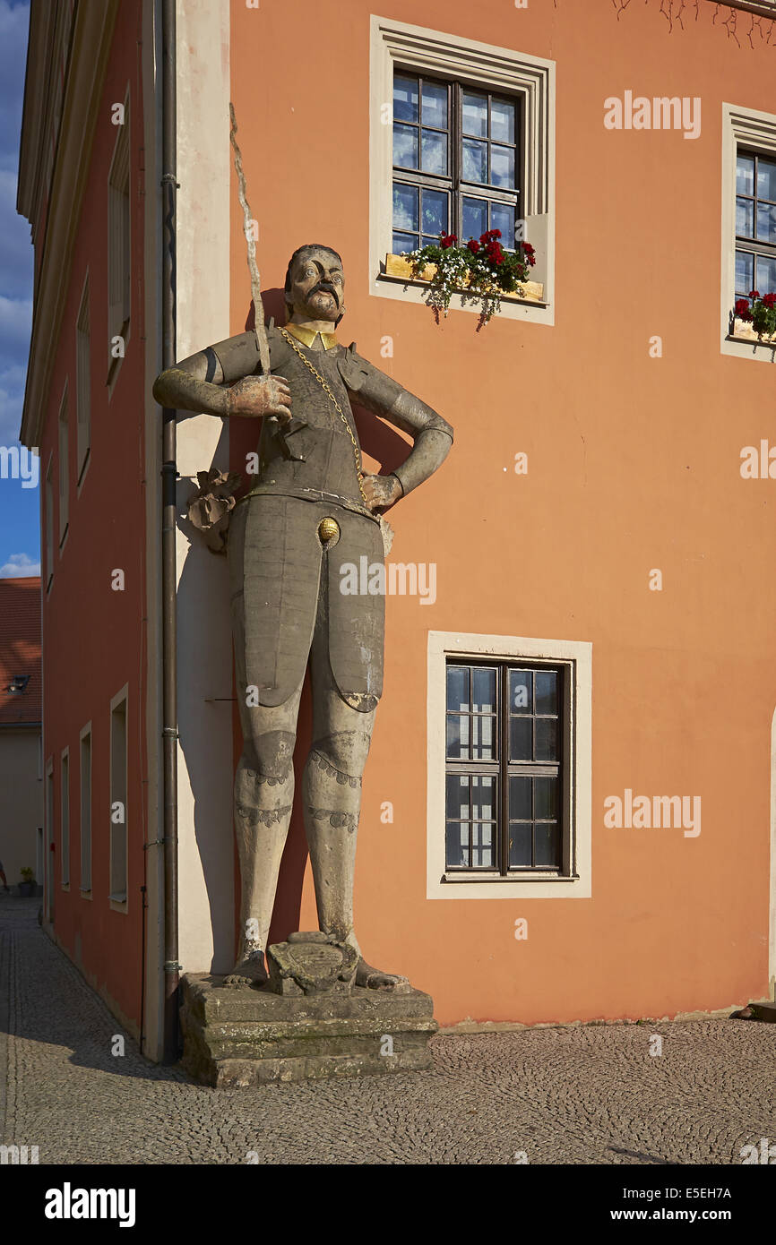 Roland at the town hall in Belgern, Saxony, Germany Stock Photo