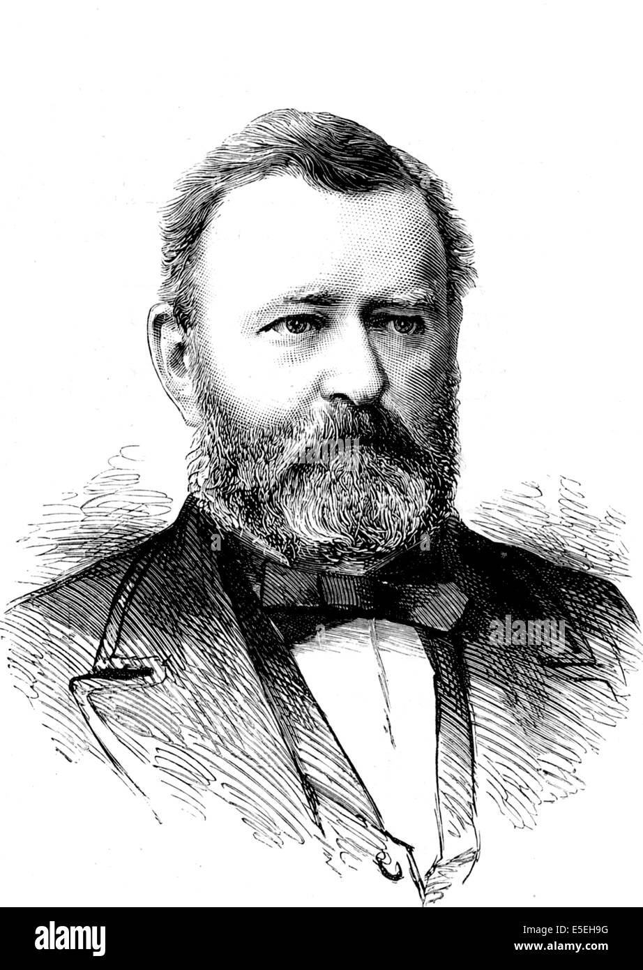 Ulysses S. Grant, 18th President of the United States, American general, historical print, 1890 - Stock Image