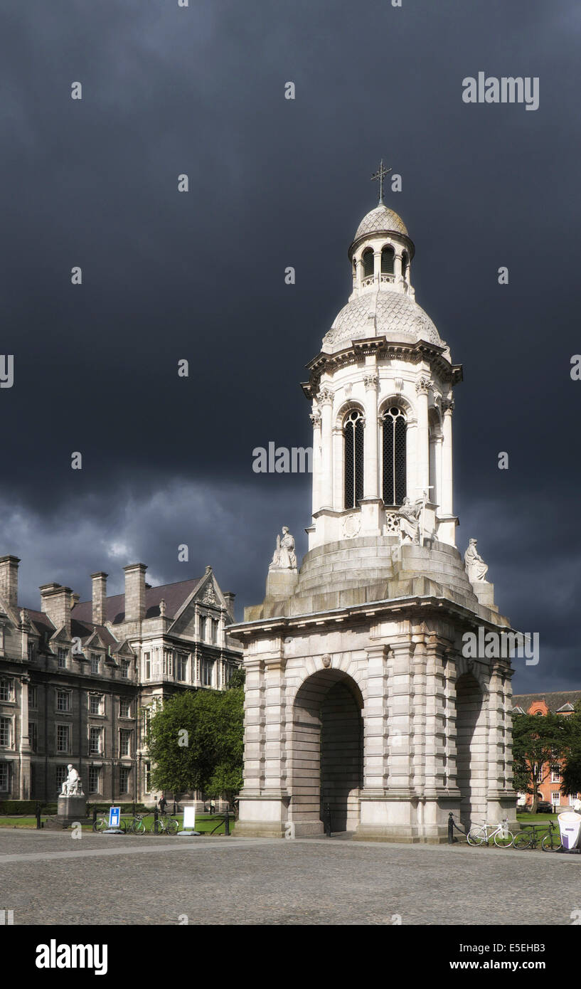 Campanile of Trinity College, bell tower, Dublin, Ireland - Stock Image