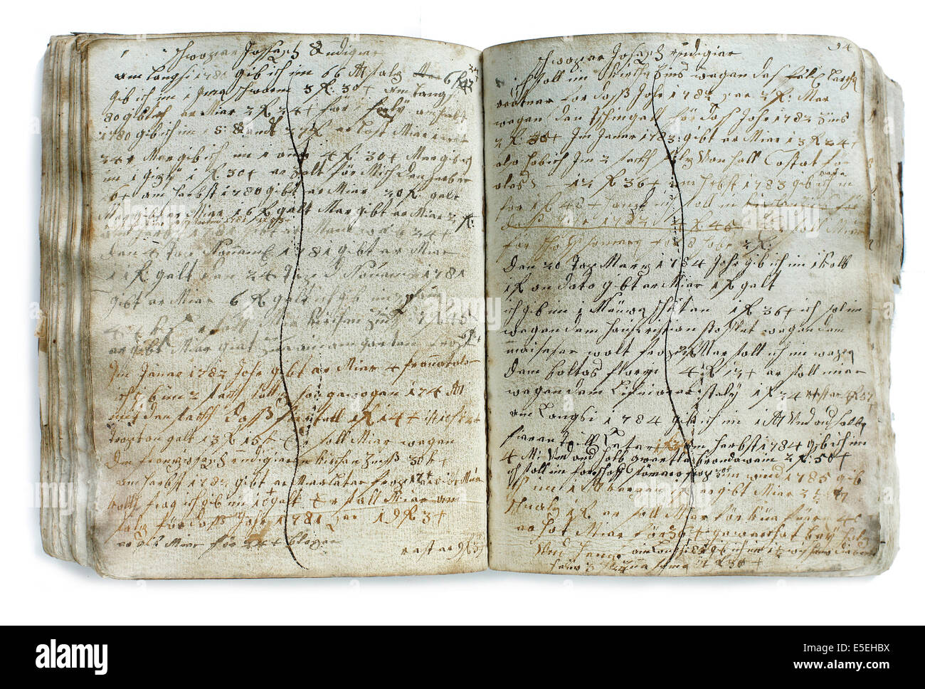 Debt book, circa 1800, found in an abandoned farmhouse, Tyrol, Austria - Stock Image