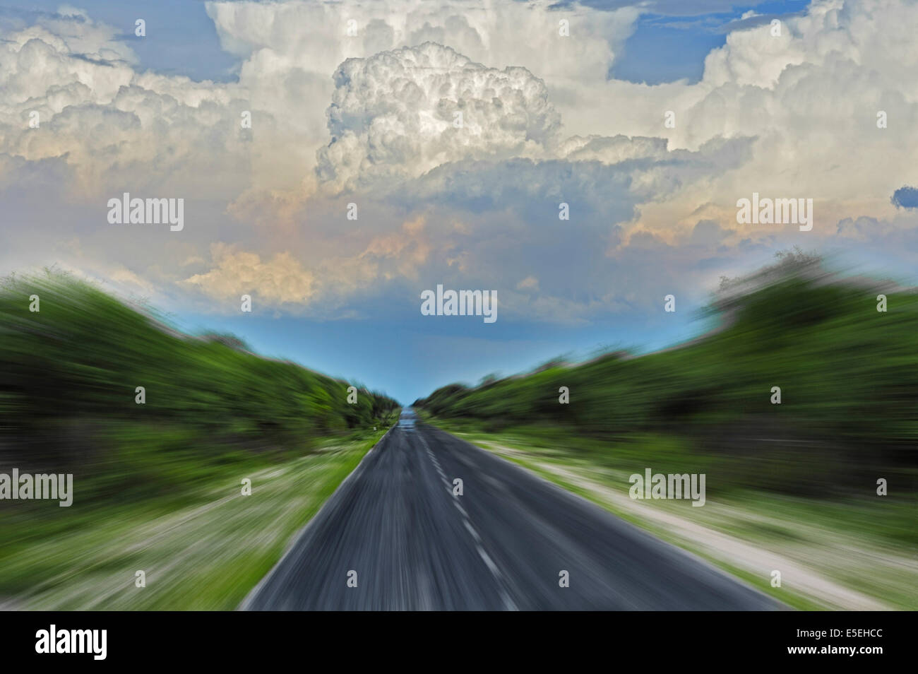 Street with zoom effect and cumulus clouds, Etosha National Park, Namibia - Stock Image