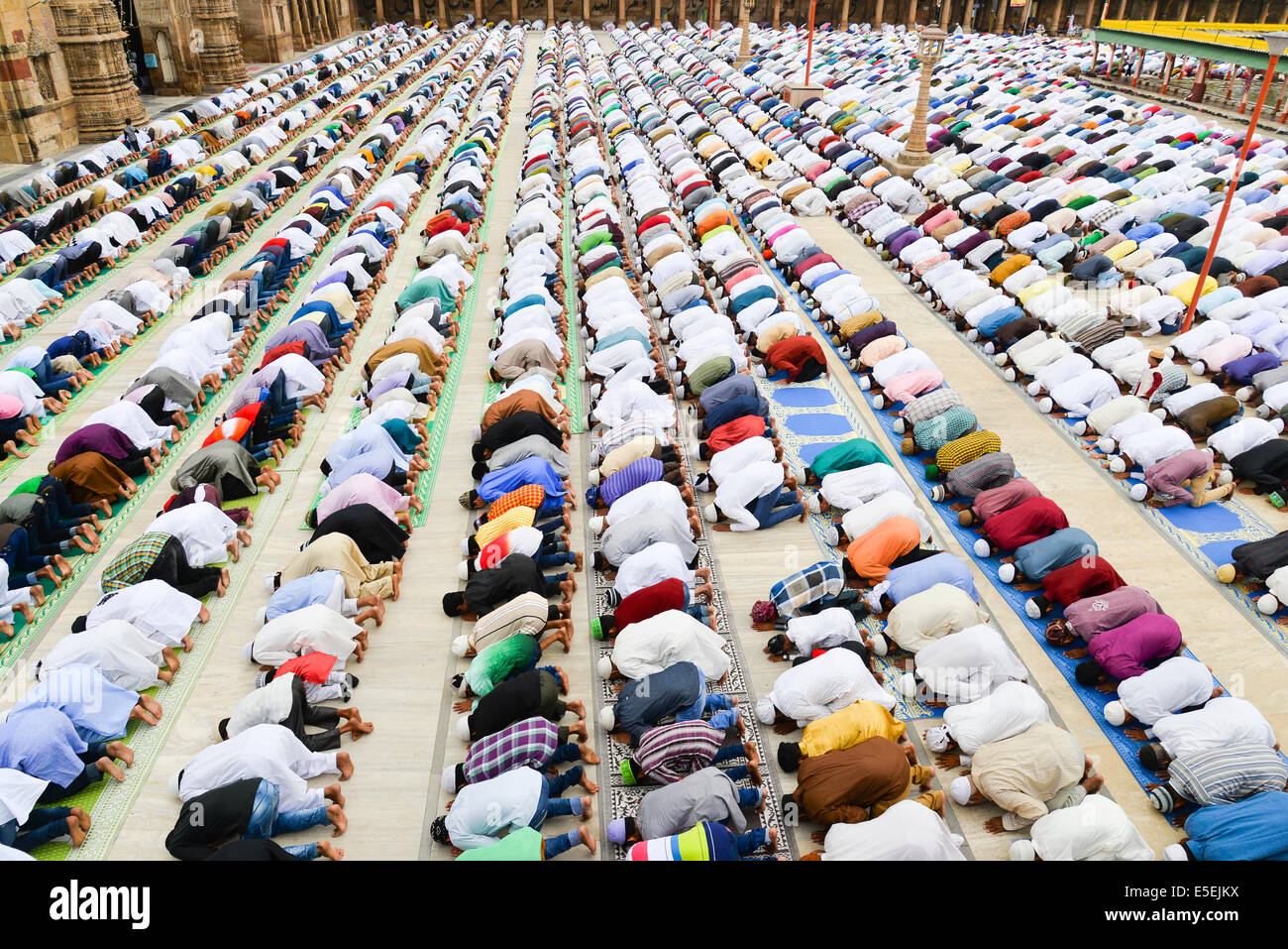 Ahmedabad, India. 29th July, 2014.  Muslims celebrating Eid al-Fitr which marks the end of the month of Ramadan, Stock Photo