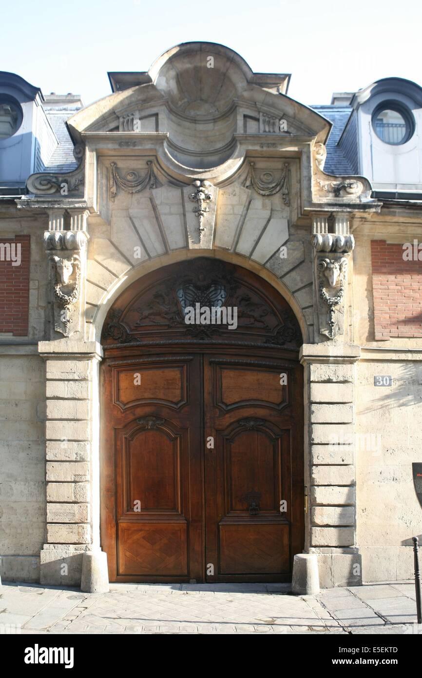 France, paris 3e, le marais, hotel particulier, 26 rue des francs bourgeois, hotel d'almeras, detail porche, - Stock Image