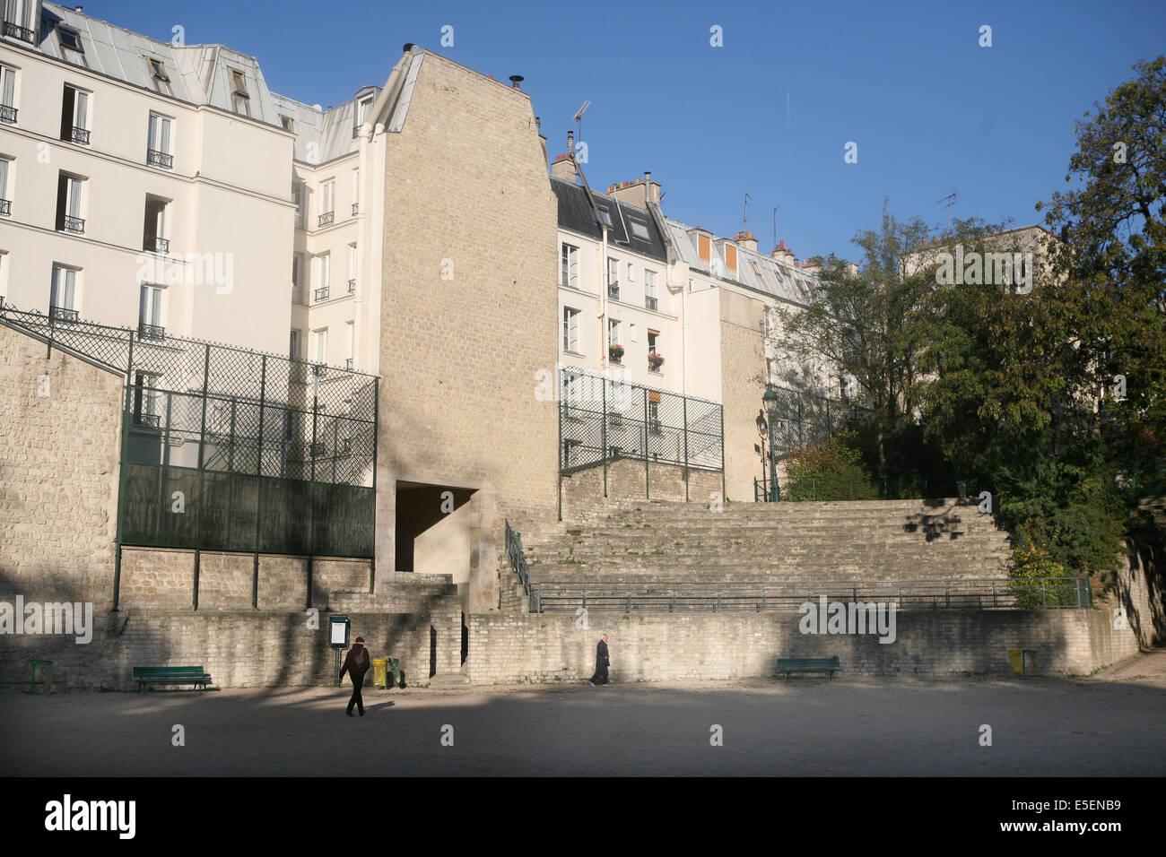France, paris 5e, arenes de Lutece, vestiges, histoire medievale, Stock Photo