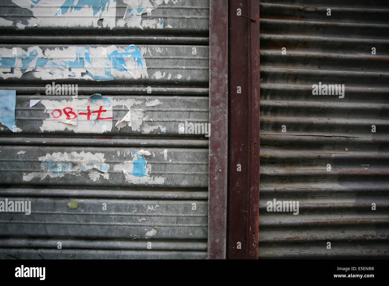 France Paris 6e Rue Vavin Rideau De Fer Boutique Salete Stock