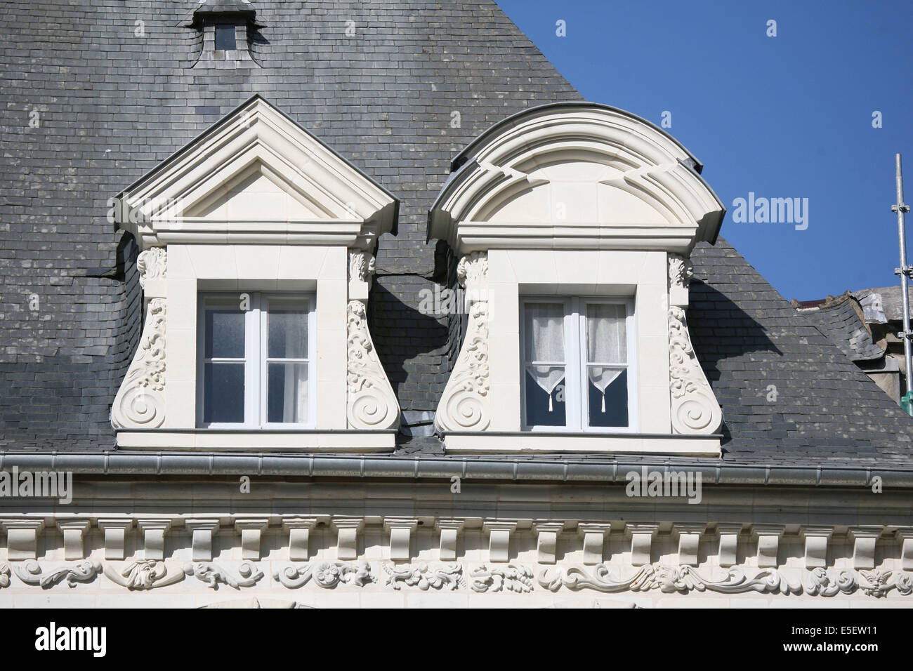 France, Bretagne, ille et vilaine, rennes, rue de la monnaie, hotel Bouexic de pinieuc 1631, lucarnes de formes Stock Photo