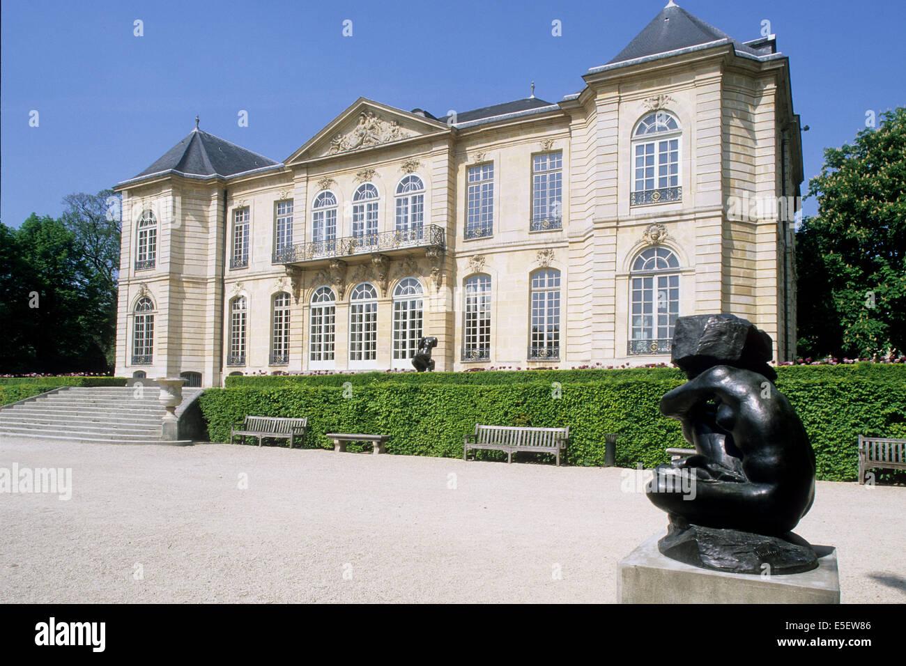 France Paris 7e Faubourg Saint Germain 79 Rue De Varenne Hotel Biron Musee Rodin Particulier Facade Sur Jardin Oeuvre Protegee Sculpture