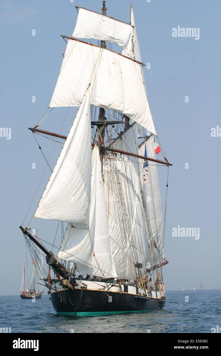 France, Basse Normandie, manche, cotentin, cherbourg, rade, tall ships race 2005, grands voiliers, course, - Stock Image