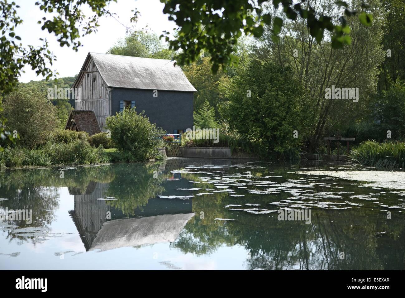 France, Haute Normandie, eure, pays du roumois, saint ouen de pontcheuil, moulin amour, etang, - Stock Image