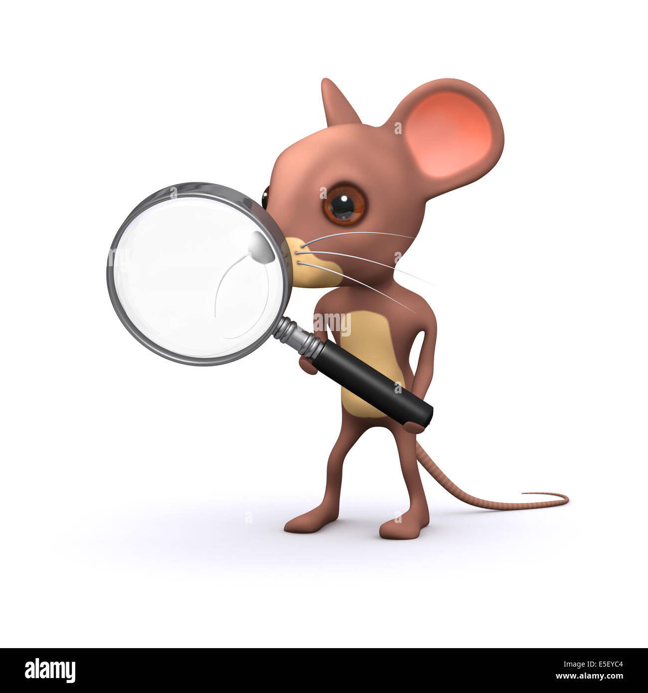 3d render of a cartoon mouse searching with a magnifying glass Stock Photo