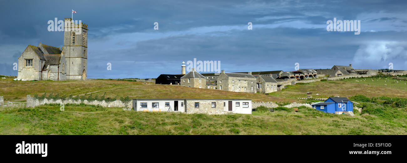 St Helen's Church and the village, Lundy Island, Devon - Stock Image