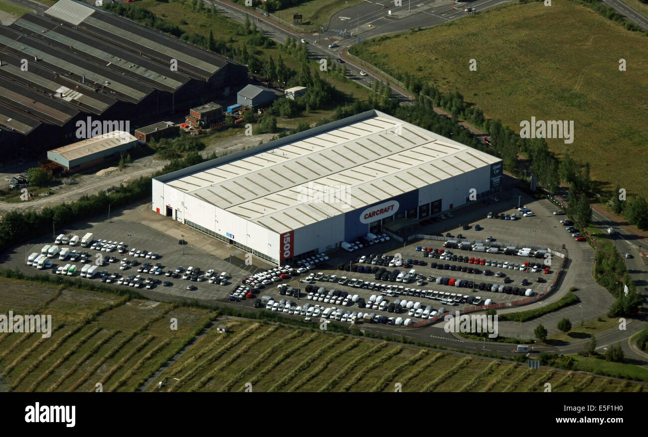 aerial view of the Carcraft car showroom in Sheffield, very close to the Airport - Stock Image