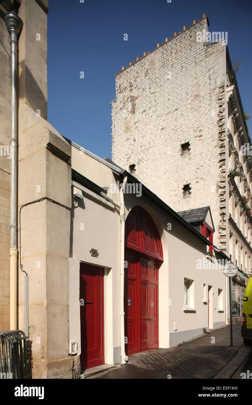France, Ile de France, paris 20e arrondissement, belleville, 99-103 rue julien lacroix, facades, alignements, voisinages, - Stock Image