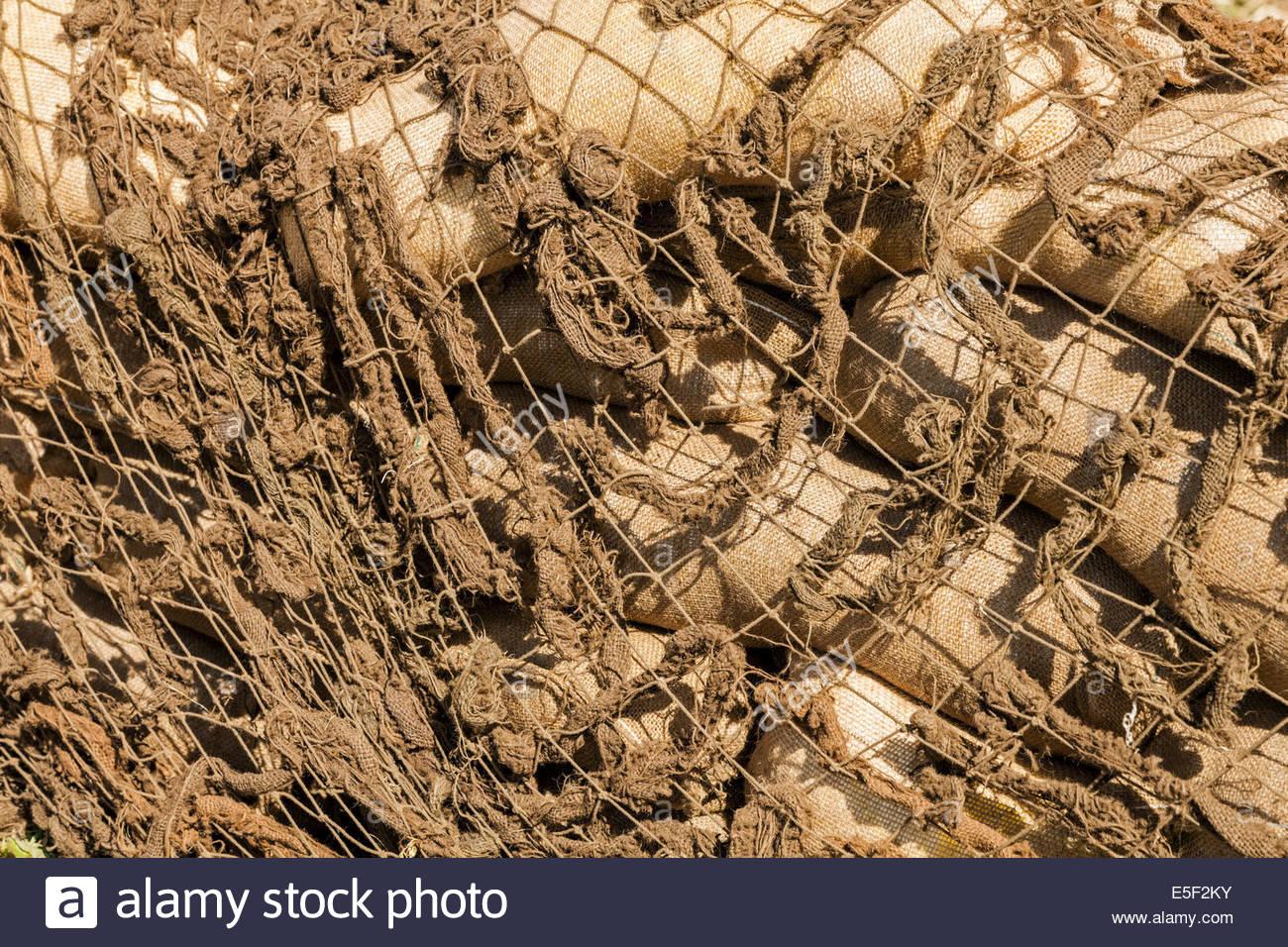 Khaki camouflage netting - Stock Image