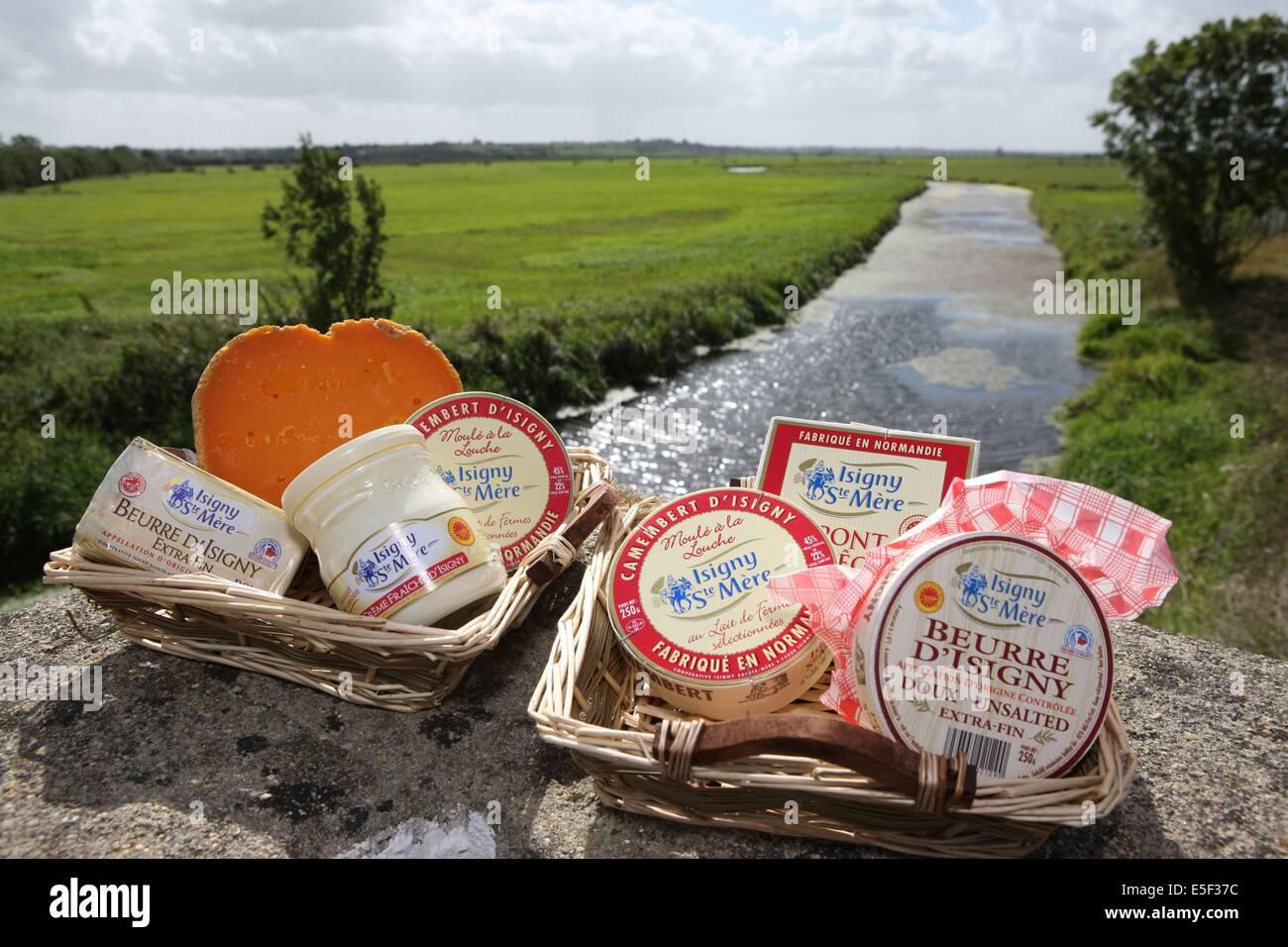 France, Basse Normandie, calvados, parc des marais du cotentin et du bessin, produits de la cooperative laitiere - Stock Image