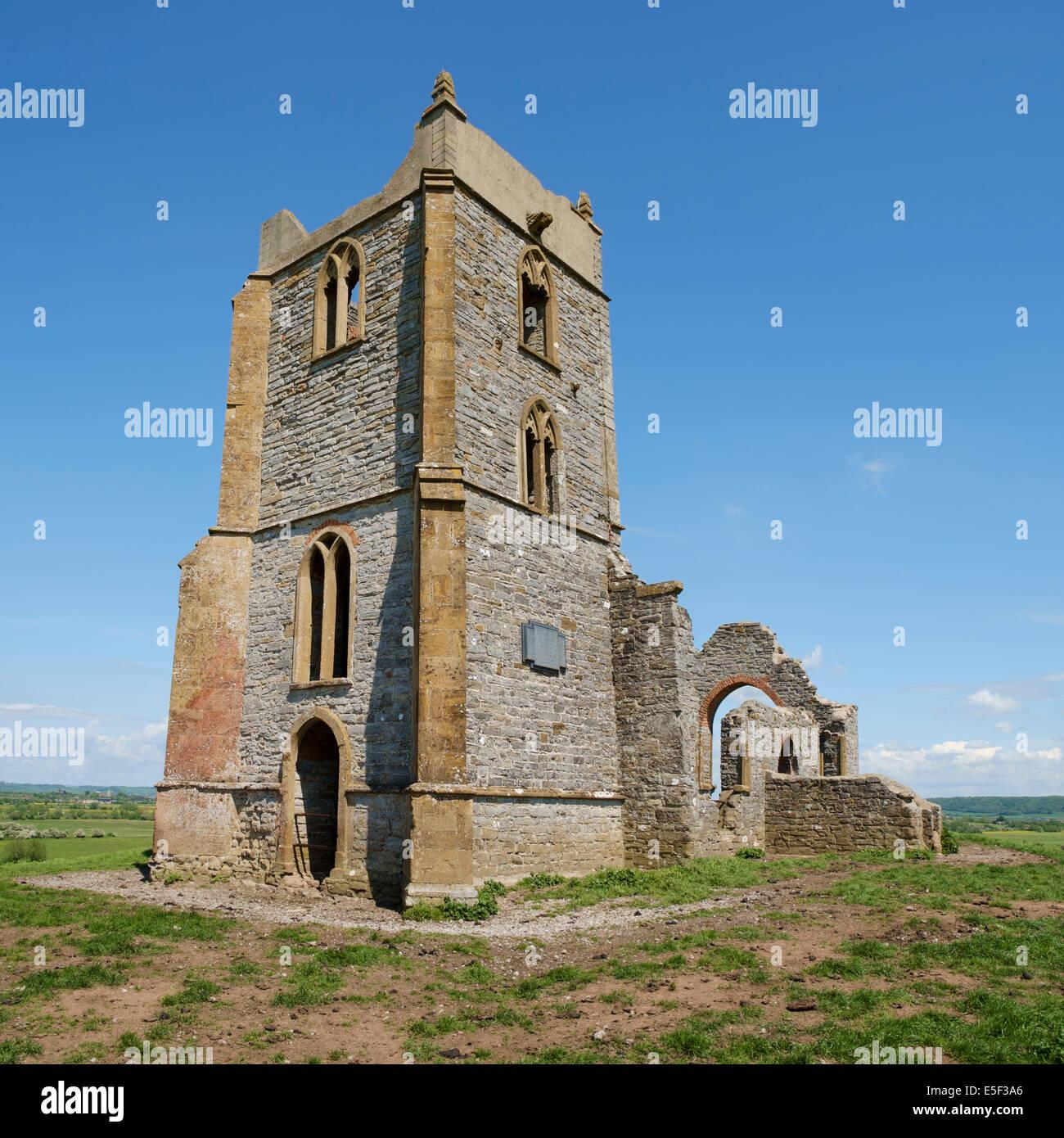 Old ruined church on top of Burrow Mump hill, Burrowbridge, Somerset, England, UK - Stock Image