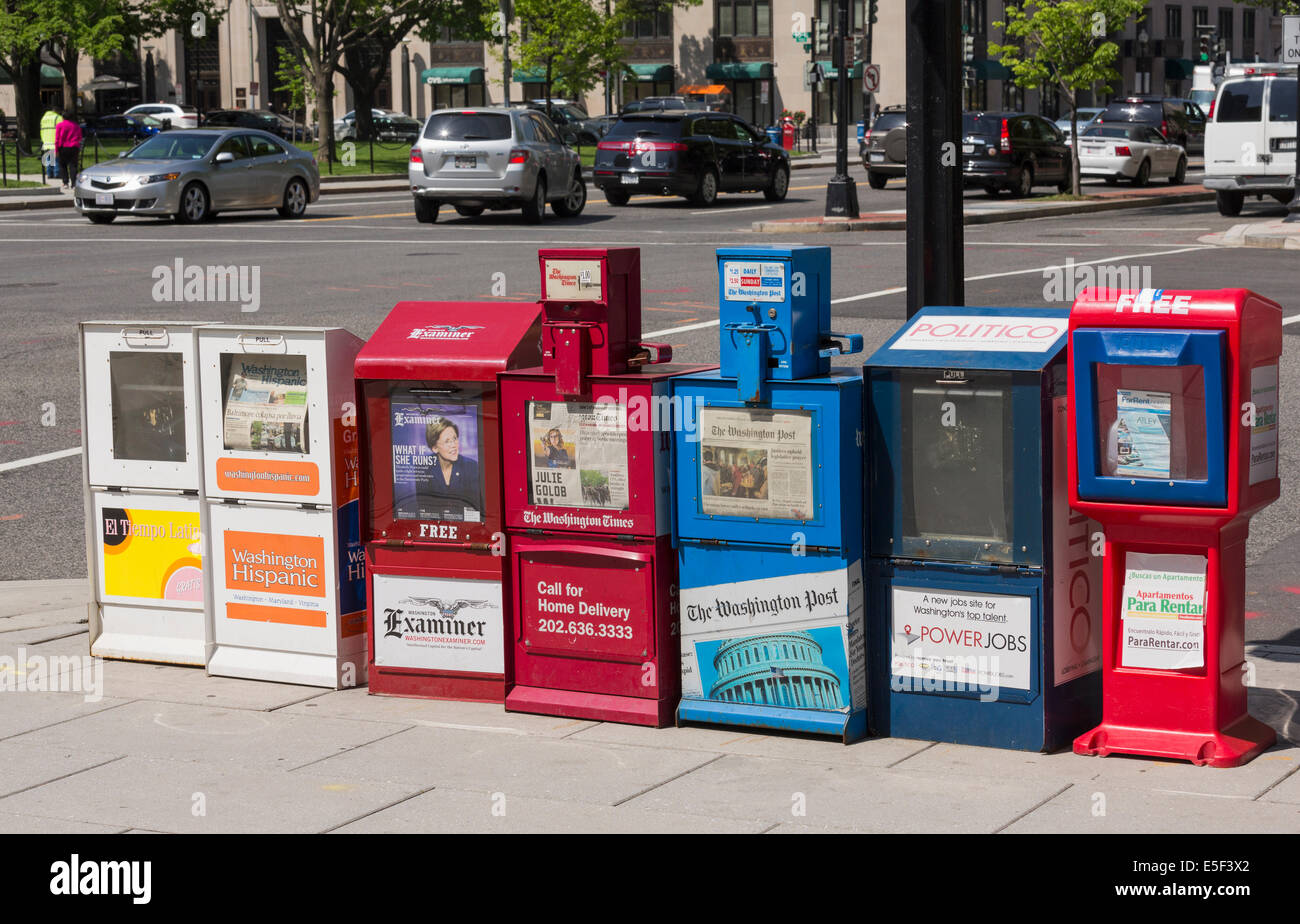 Colorful newspaper stands in the street in Washington DC, USA - Stock Image