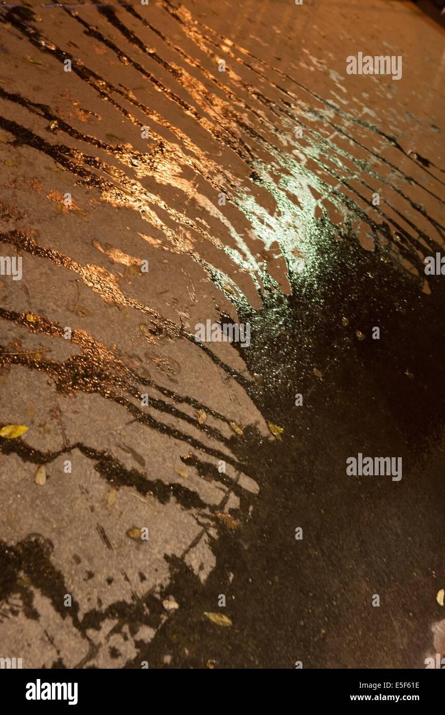 france, ile de france, paris, 14e arrondissement, nuit, matin, eau de nettoyage, flaque, coulures, ,   Date : decembre - Stock Image