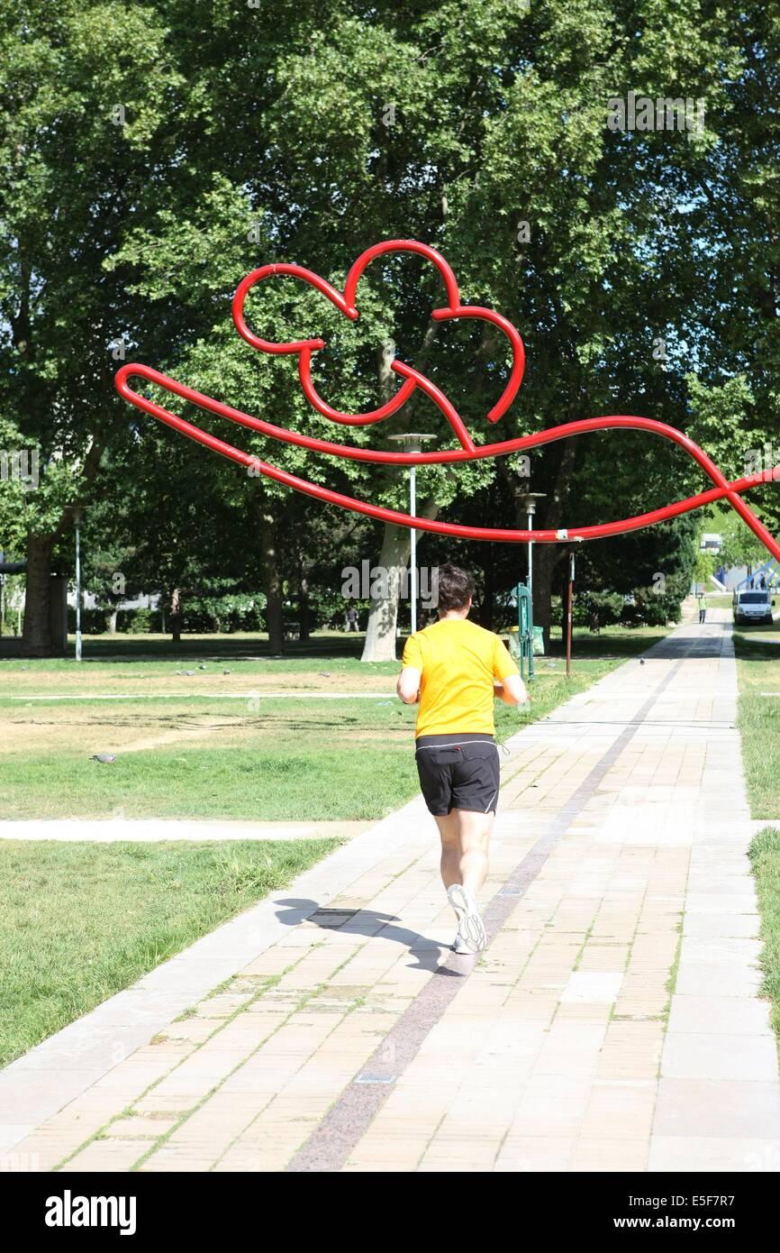 France, ile de france, paris, 12e arrondissement, bercy, parc de bercy, jardin yitzhak rabin, espace vert, jogging, - Stock Image