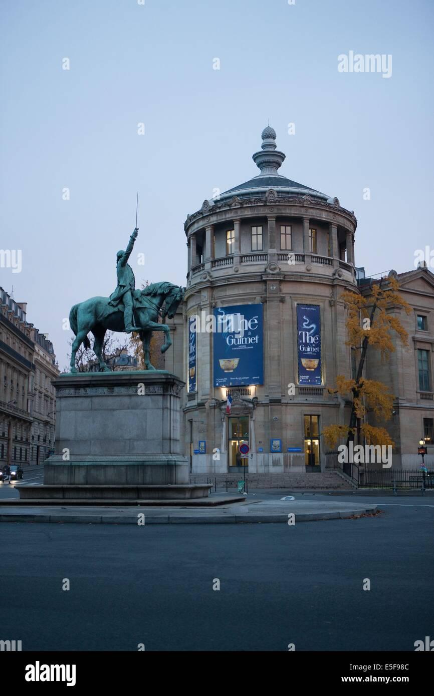 france, region ile de france, paris, place d'iena, musee guimet, statue equestre george washington, - Stock Image