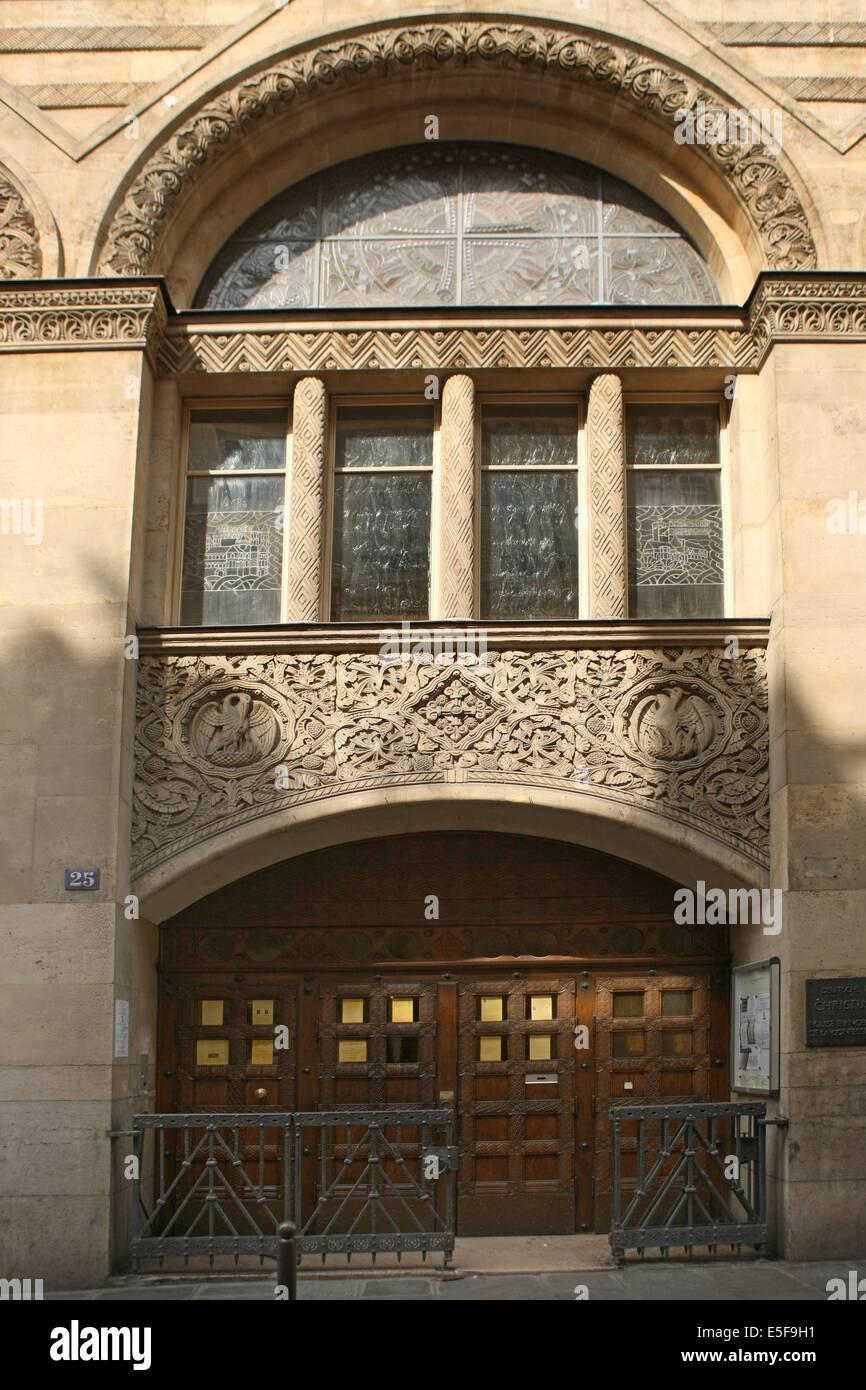 France, ile de france, paris  9e arrondissement, 25 rue blanche, facade de l'eglise evangelique allemande, detail Stock Photo