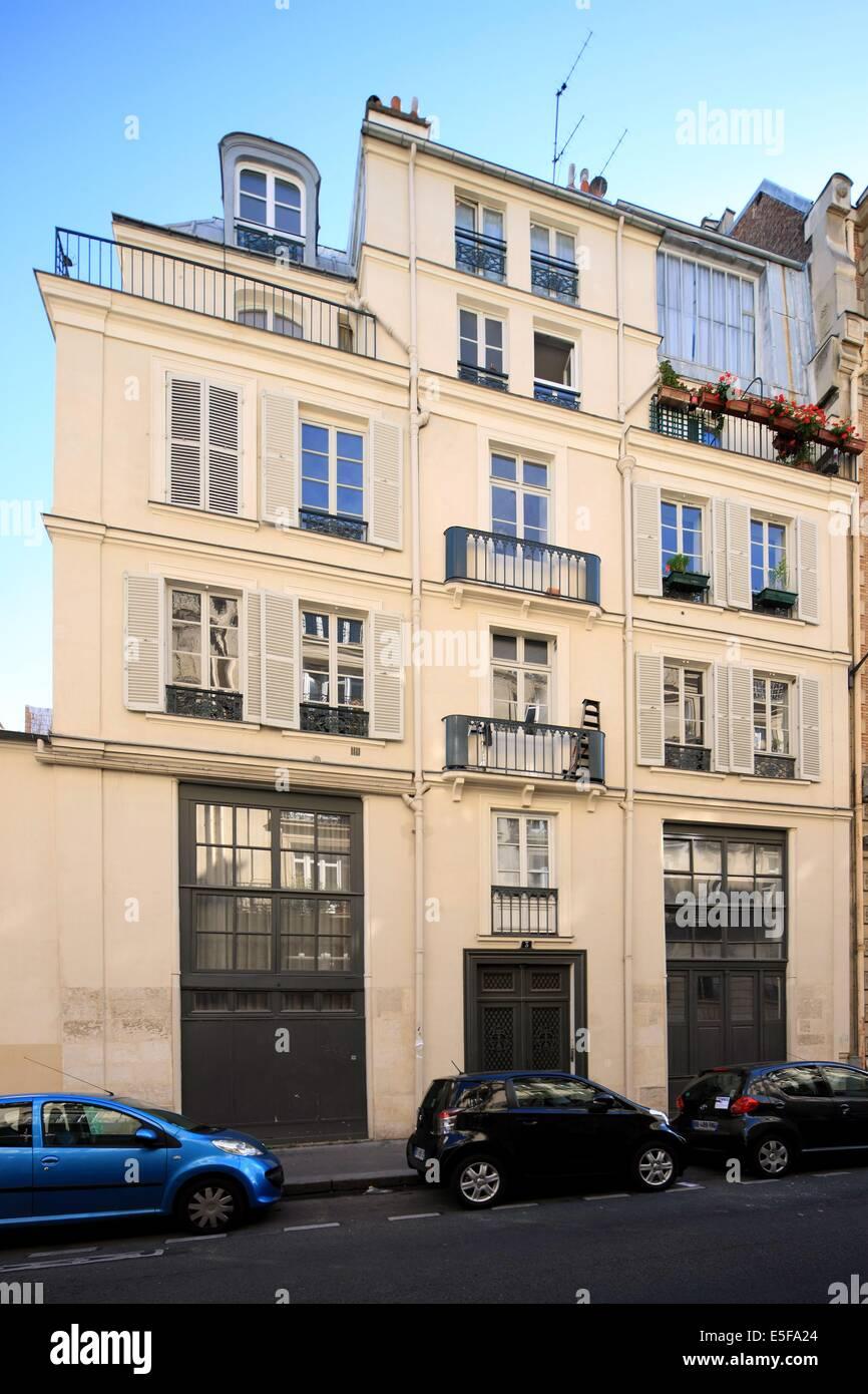 france, region ile de france, paris 6e arrondissement, montparnasse, rue joseph bara, n3, au rendez vous des artistes. - Stock Image