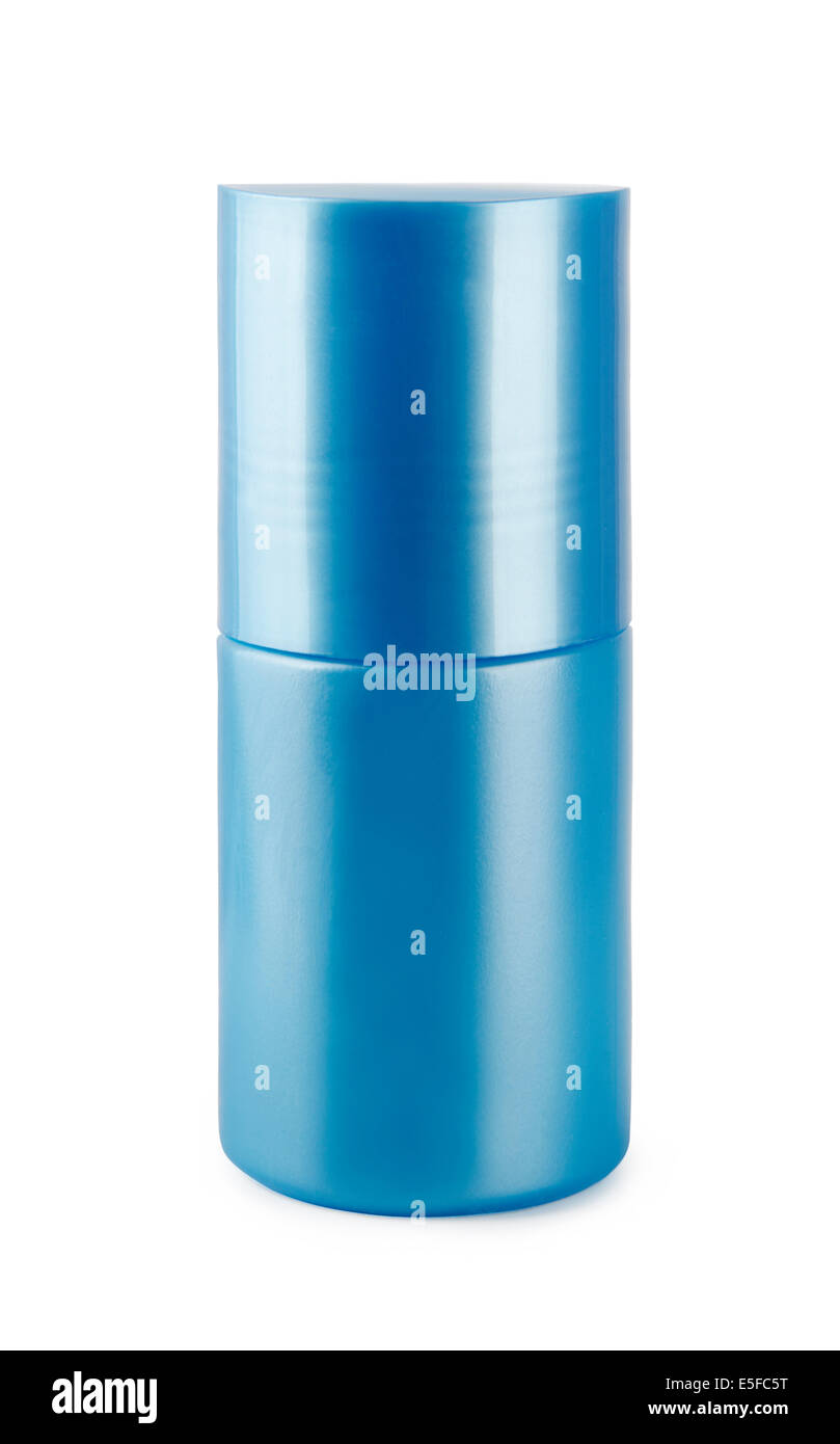 Blue deodorant on a white background - Stock Image