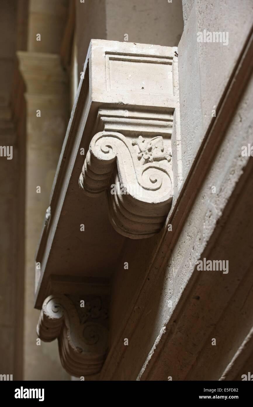 France, ile de france, paris 9e, 9 rue drouot, mairie du 9e arrondissement, hotel d'augny, grand escalier, detail - Stock Image