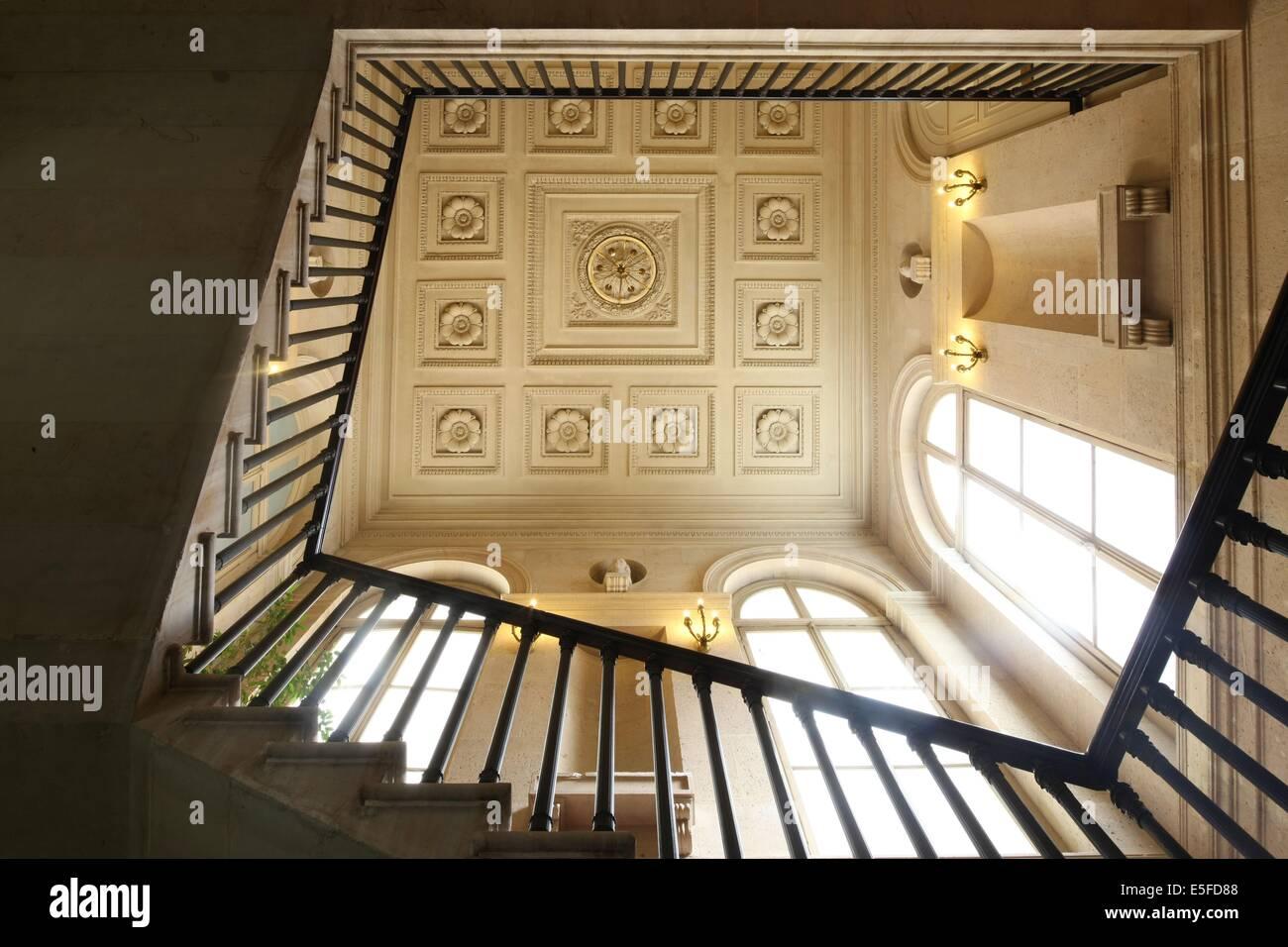 France, ile de france, paris 9e, 9 rue drouot, mairie du 9e arrondissement, hotel d'augny, grand escalier, detai - Stock Image