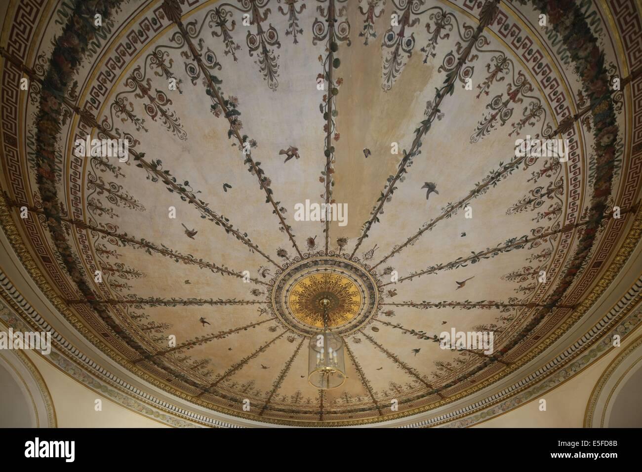 France, ile de france, paris 9e, 9 rue drouot, mairie du 9e arrondissement, hotel d'augny, salon aguado, detail - Stock Image