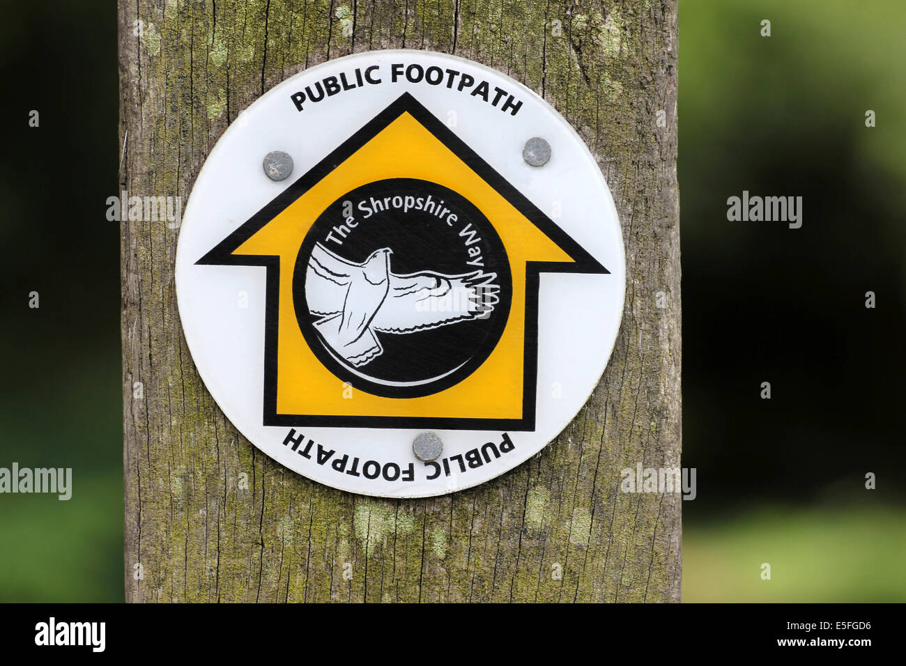 The Shropshire Way Public Footpath Sign - Stock Image