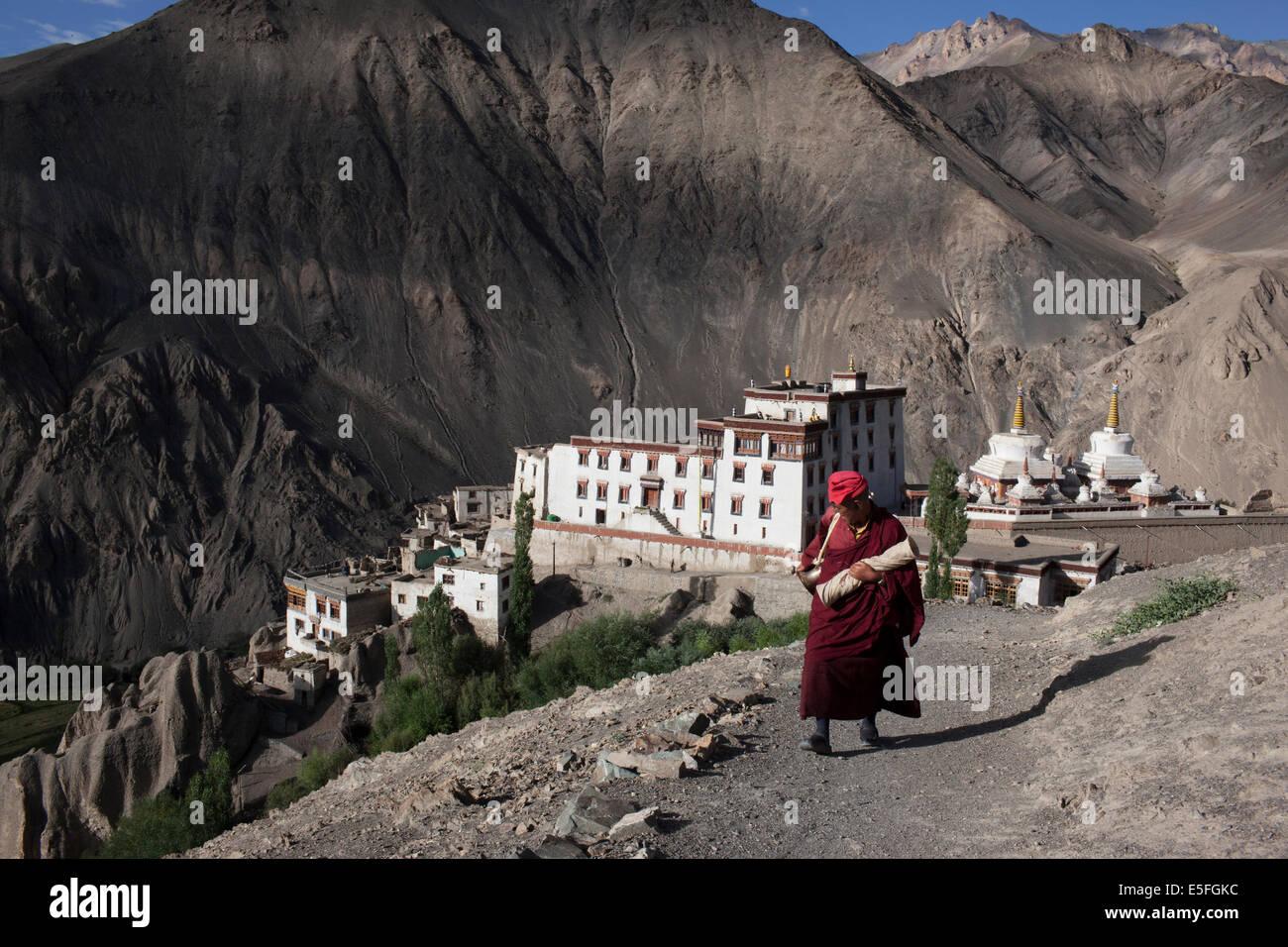 A monk at Lamayuru Monastery in Ladakha - Stock Image