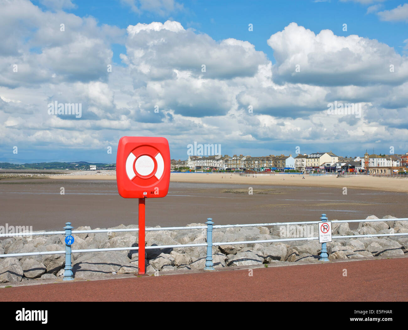 Lifebelt on the Stone Jetty, Morecambe, Lancashire, England UK - Stock Image