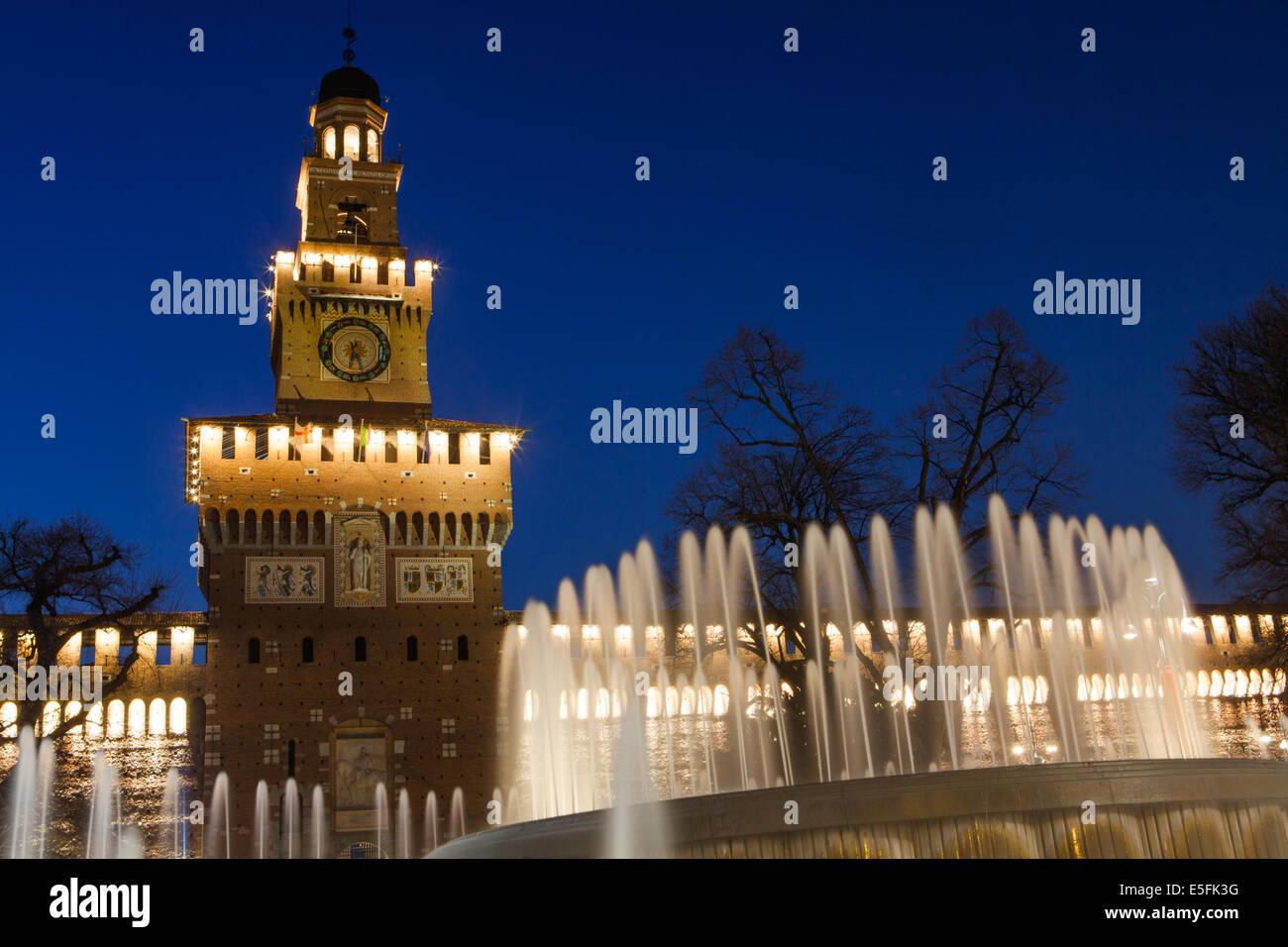 Sforzesco Castle by night in Milan, Italy - Stock Image