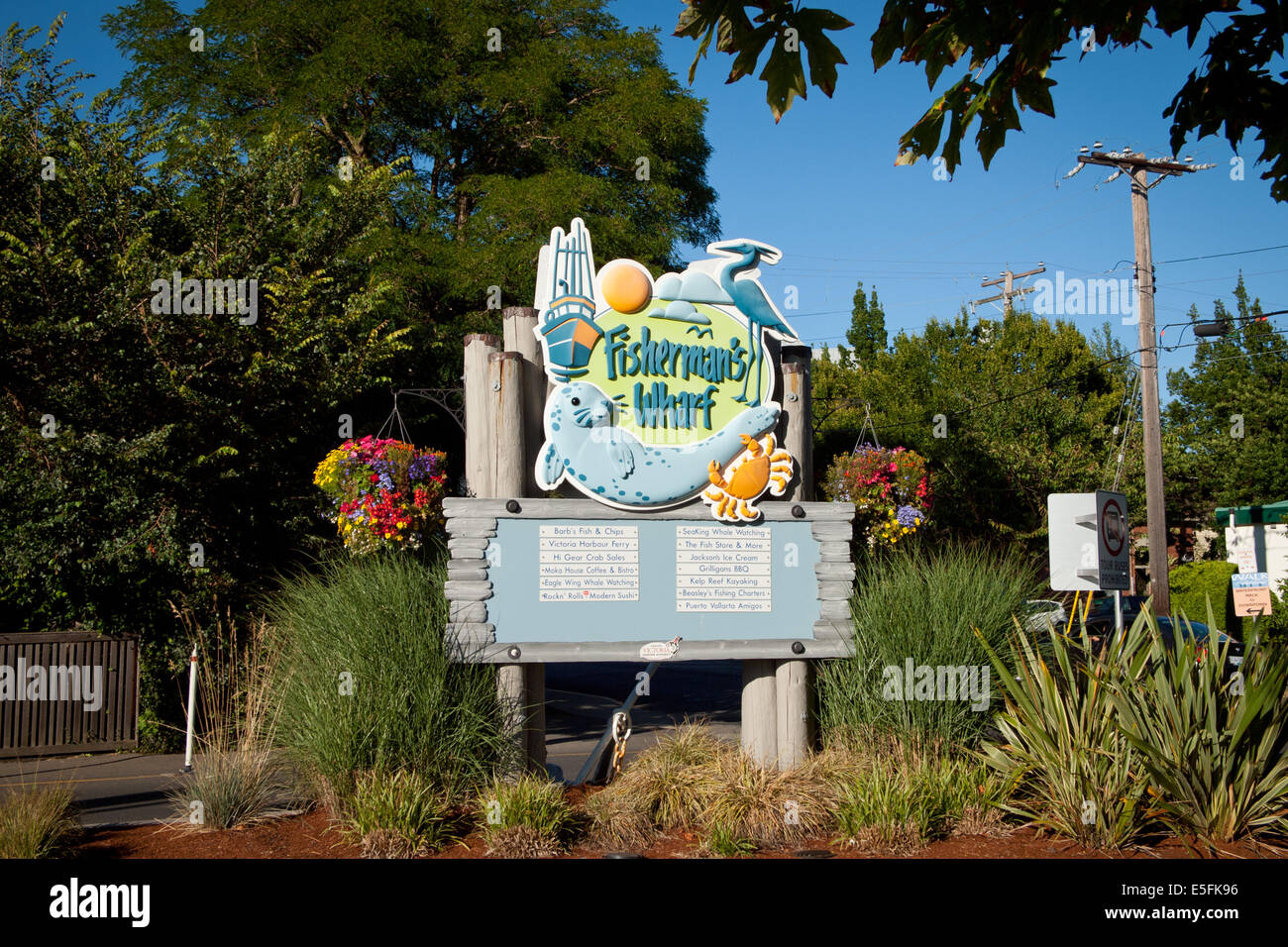 A sign at the entrance of Fisherman's Wharf in Victoria, British Columbia, Canada. Stock Photo