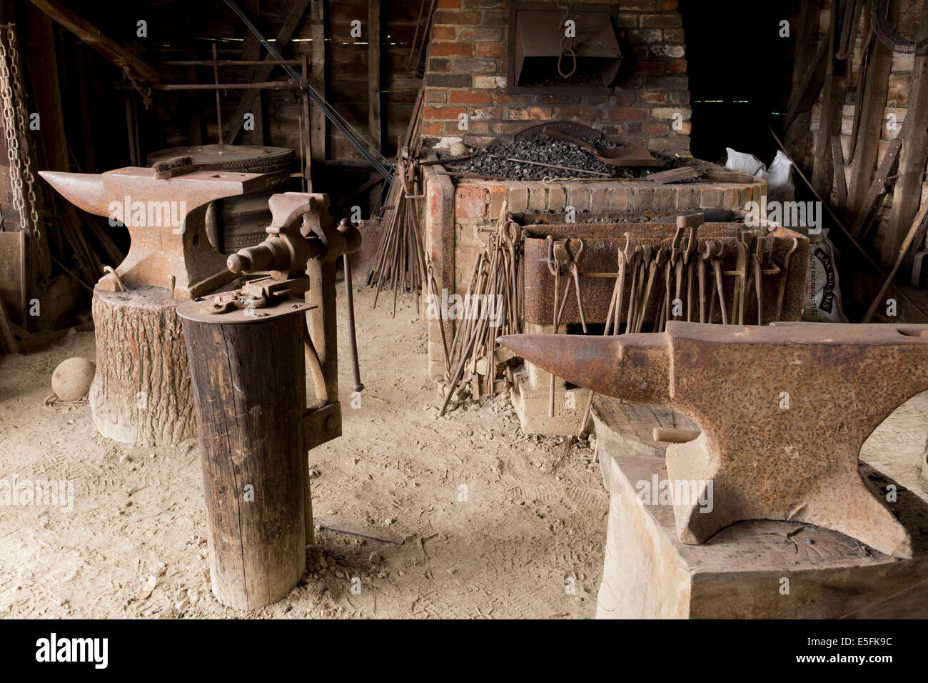 Blacksmith's forge in museum of East Anglian life, Suffolk - Stock Image