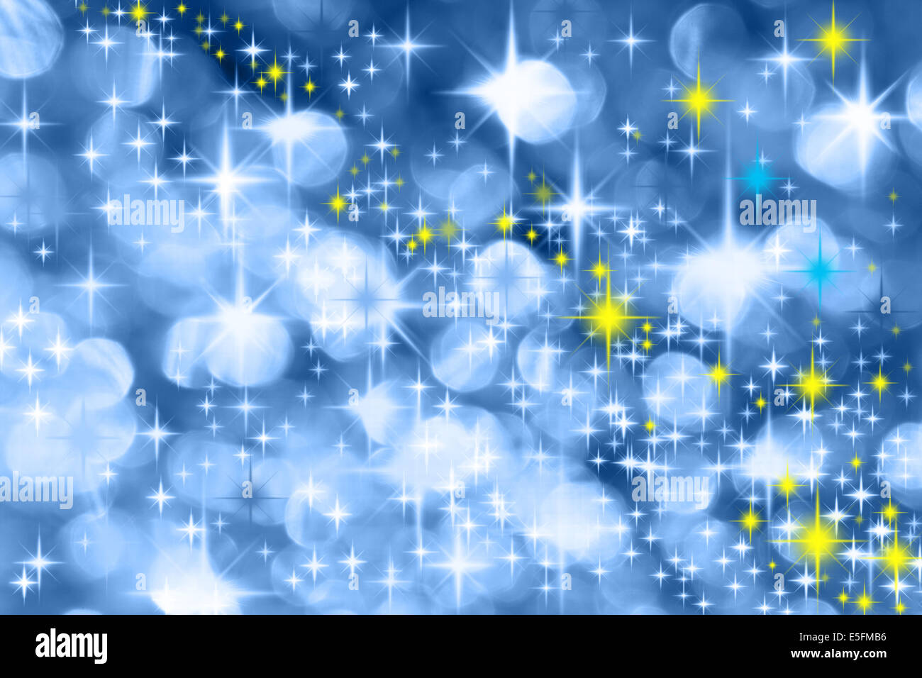 The Milky Way - Blue Christmas background with colorful stars - Stock Image