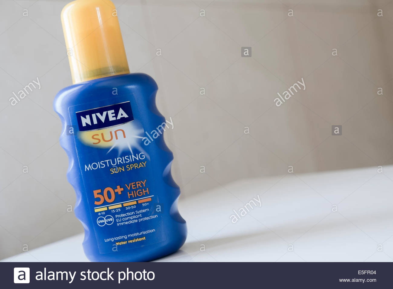 bottle of Nivea 50+ sun screen - Stock Image